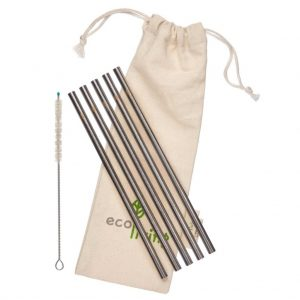 5 Stainless Steel Smoothie Straight Drinking Straws with Plastic Free Cleaning Brush And Organic Carry Pouch